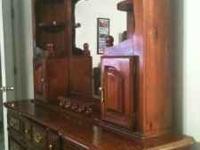 2 Piece wood Dresser & Mirror cherry finish lighted,