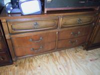 Very nice pecan dresser w/mirror $200, Tell City chest