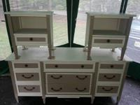 Drexel cream and beige dresser and 2 night stand set.