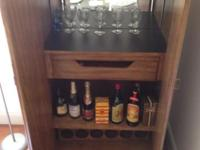 Drexel Ancestry Ash Wood, fruitwood surface bar closet.
