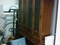 This a 2 piece, antique , walnut cabinet with drawers