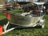 2014 18x60 Willie Drift Boat. Galvanized trailer. Flip