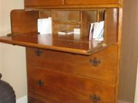 1930s solid maple dresser / secretary with brass