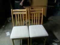 We have a drop leaf table w/ 2 padded chairs in good