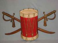 Colonial drum & swords wall hanging, metal, measures