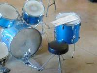 drums, seat, bunch of drum sticks. 150.00 please email