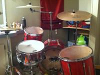 Used red pearl export series 4 pieces/only missing 5th