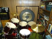 5 Piece Drum Set. One Bass Drum, One Floor tom, Two