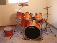 "7 piece Mapex Birch Drum set. Includes: 22"" bass, 14"""