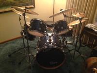 5 piece pacific drum set 4 cymbals 3 crash 1 ride 2