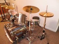 Type: DrumsPEARL COMPLETE DRUM SET! Smokey Chrome! Like
