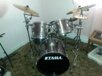 Tama swingstar drum set has 22'' bass drum, 16'' floor