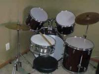 drums are in good condition has three toms, snare,