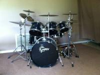 6 piece Gretsch drumset with Zildjian cymbals and soft