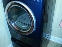 Navy Blue Gas Steam dryer only with matching pedestal.