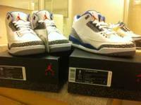 Nike Air Jordan 3 Retro True Blue Sz. 10 100%