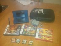 Blue DSI XL with 7 games-Mario vs. Donkey Kong, Crash