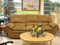 Cocoa microfiber dual reclining sofa , like new .