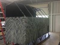 Custom-made duck blinds on skids. These blind are