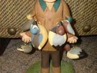 "Duck hunter figurine - 8 1/2""h Made by Folkwoods Studio"