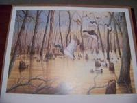 AUTOGRAPHED AND NUMBERED LEE ROGERS DUCK PRINT, 24x30,