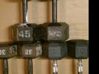 1 set of 25lb rubber dumbbell weights. $25 1 set of