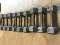 Dumbbells for sale! $.25 per pound. 10lb, 15lb, 20lb,