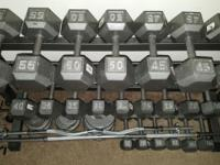 Dumbells 55 pds to 10 pds in five pound increments!