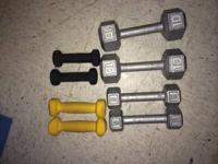 Set of Dumbell weights. 2 of each. Sizes: 2lb, 3lb,