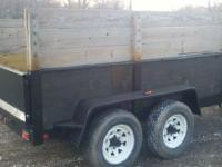 2003 BRIMMAR POWER DUMP TRAILER. TEN FOOT BOX. FOUR