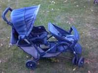 Duo glide stroller in fair condition. Blue fabric has