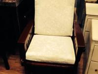 Dutailier Mission glider rocker with ivory upholstery