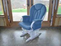 Dutalier brand white glider/rocker, comes with denim