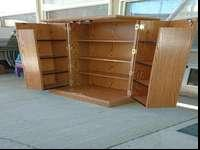 DVD Storage Cabinent. Solid oak. Holds a lot of