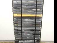 Holds 40 dvd's. Its sturdy and in perfect condition.