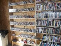 LOTS AND LOTS OF CD'S, DVD'S AND VHS TAPES FOR SALE.