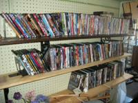 Large option of dvds and vhs tapes. Dvds for $3 Vhs for