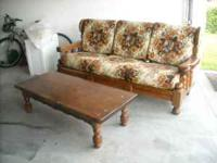 Early American Sofa and solid pine coffee table.