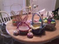 Several Easter decorations: Two wire bunny baskets,