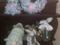 Matching Tree & Wreath Bunnies Sheep Cermanic Basket