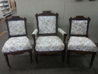 1 arm chair and 2 parlor chairs.Very good condition.