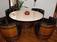 Vintage 1968 bourbon barrel table and four vinyl draped