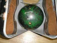ebonite bowling ball and size 11 shoes, plus carrying