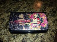 Ed Hardy Black Leather Phone Case with Classic Ed Hardy