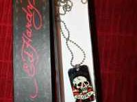 Ed Hardy dog tag necklace and box. Mint condition.