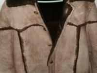Mens Eddie Bauer 100% lambs wool jacket Brown to side
