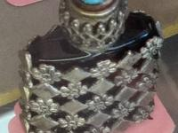 Mini French Glass & Silver Perfume Bottle Exquisite