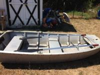 Eight foot row boat, aluminum, can attach a trolling
