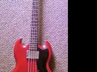A excellent condition Epiphone SG bass, colored Cherry