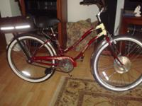 "Electric bicycle, 26"" like brand-new, girl's frame."